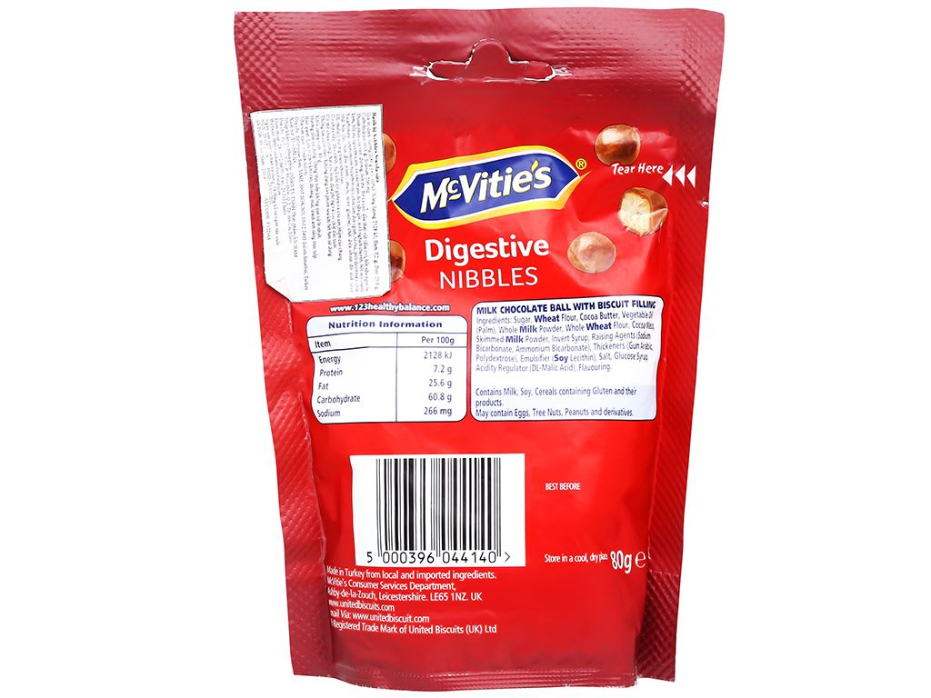 Bánh bi phủ socola sữa McVitie's Digestive Nibbles gói 80g 2