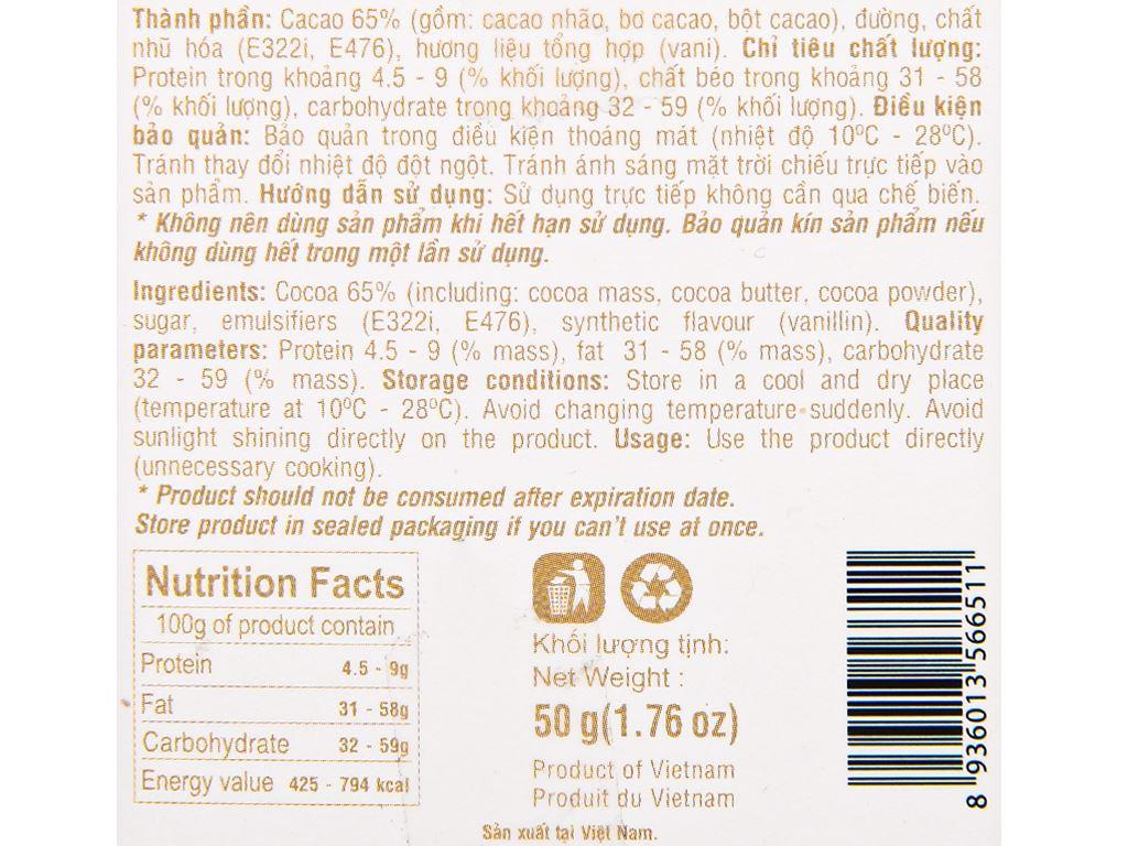 Socola đen Henk 65% ca cao hộp 50g 3