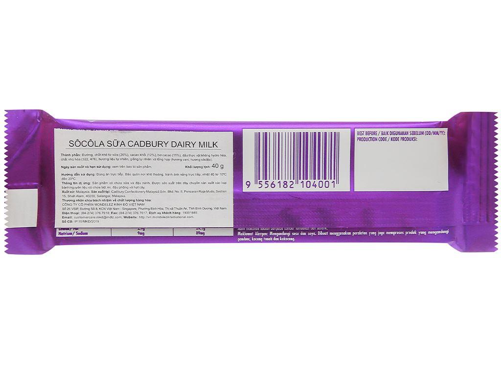 Socola sữa Cadbury Dairy Milk thanh 40g 2