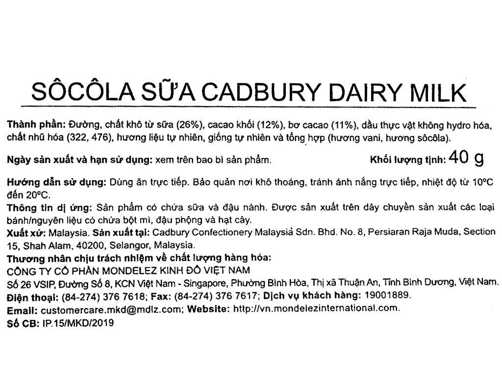Socola sữa Cadbury Dairy Milk thanh 40g 3