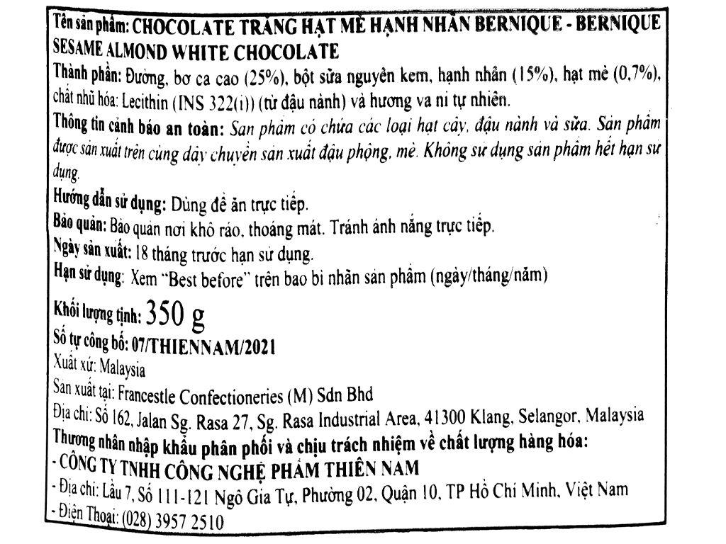 Socola trắng hạt mè hạnh nhân Bernique hộp 350g 4