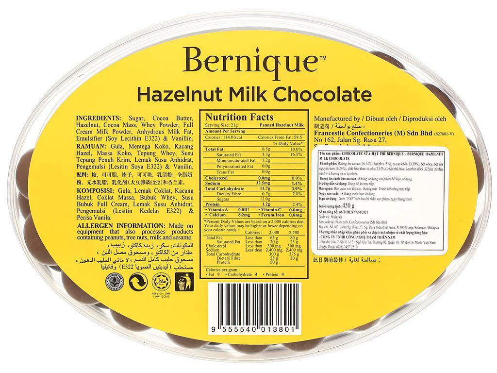Socola sữa hạt phỉ Bernique hộp 450g 3