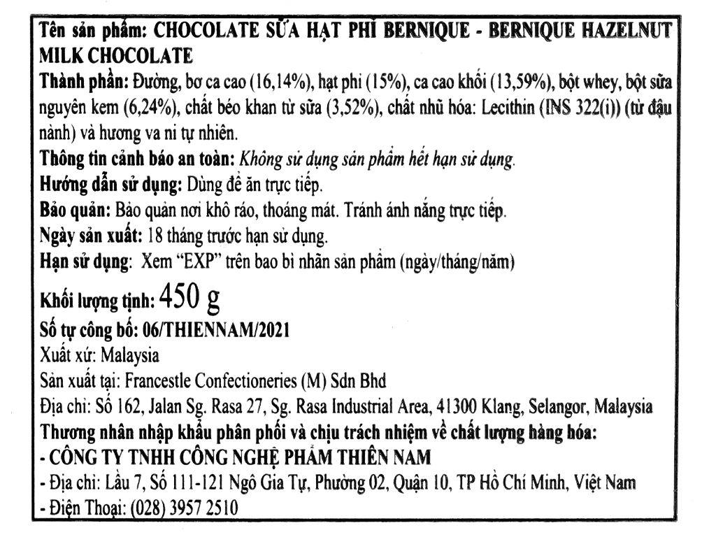Socola sữa hạt phỉ Bernique hộp 450g 4
