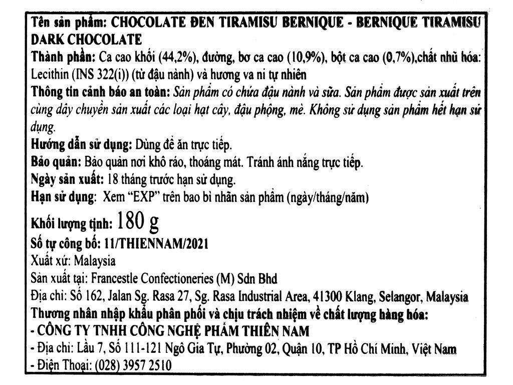 Socola đen tiramisu Bernique hộp 180g 4