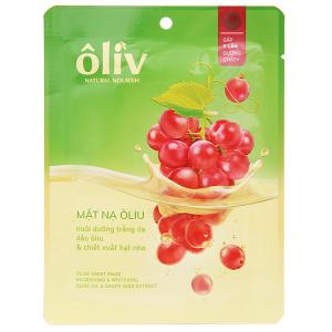Mặt nạ giấy chứa dầu ôliu và dầu hạt nho Ôliv nuôi dưỡng trắng da 20g