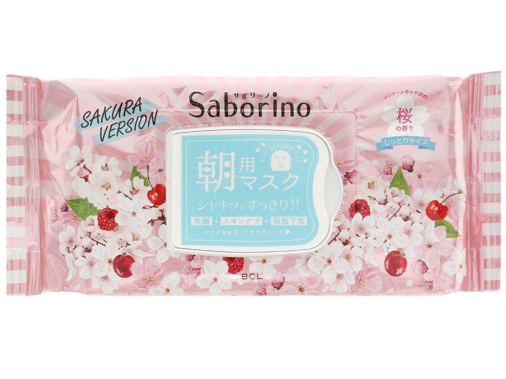 Mặt nạ dưỡng ẩm buổi sáng hương hoa anh đào Saborino 28 cái 1