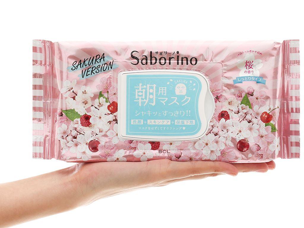 Mặt nạ dưỡng ẩm buổi sáng hương hoa anh đào Saborino 28 cái 4