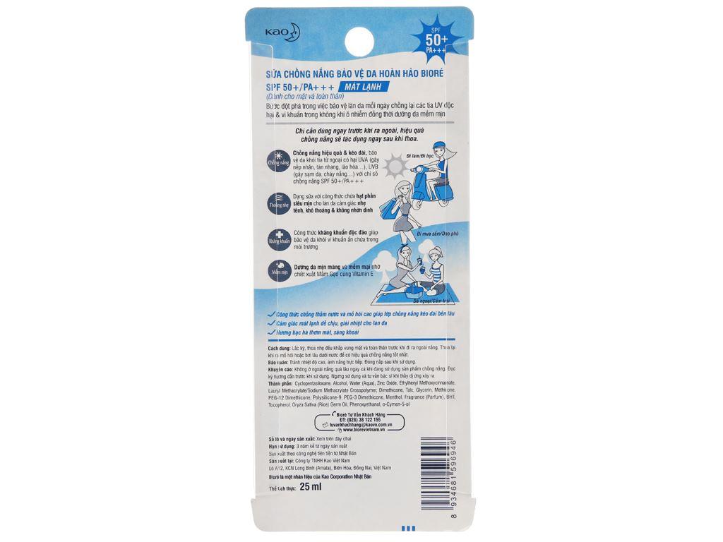 Sữa chống nắng Bioré kháng khuẩn mát lạnh SPF 50/PA+++ 25ml 3