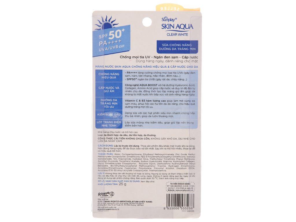 Sữa chống nắng Sunplay Skin Aqua dưỡng da trắng mịn SPF 50/PA++++ 25g 3