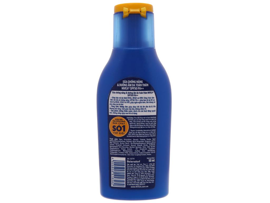 Sữa chống nắng Nivea dưỡng ẩm SPF 50/PA++ 50ml 3