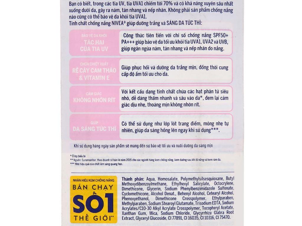 Tinh chất chống nắng Nivea dưỡng trắng tức thì SPF 50/PA+++ 30ml 1