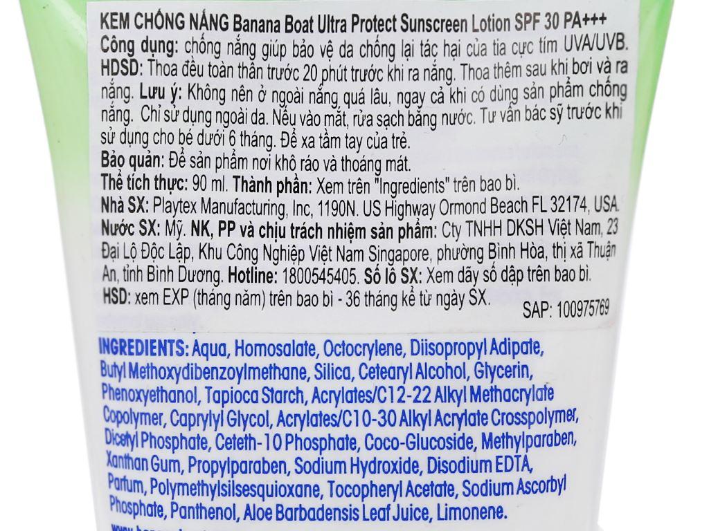 Sữa chống nắng Banana Boat Ultra Protect SPF 30/PA+++ 90ml 3