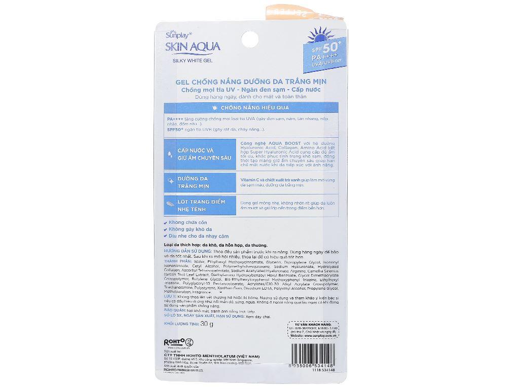 Gel chống nắng dưỡng da trắng mịn Sunplay Skin Aqua SPF 50+/PA++++ 30g 2