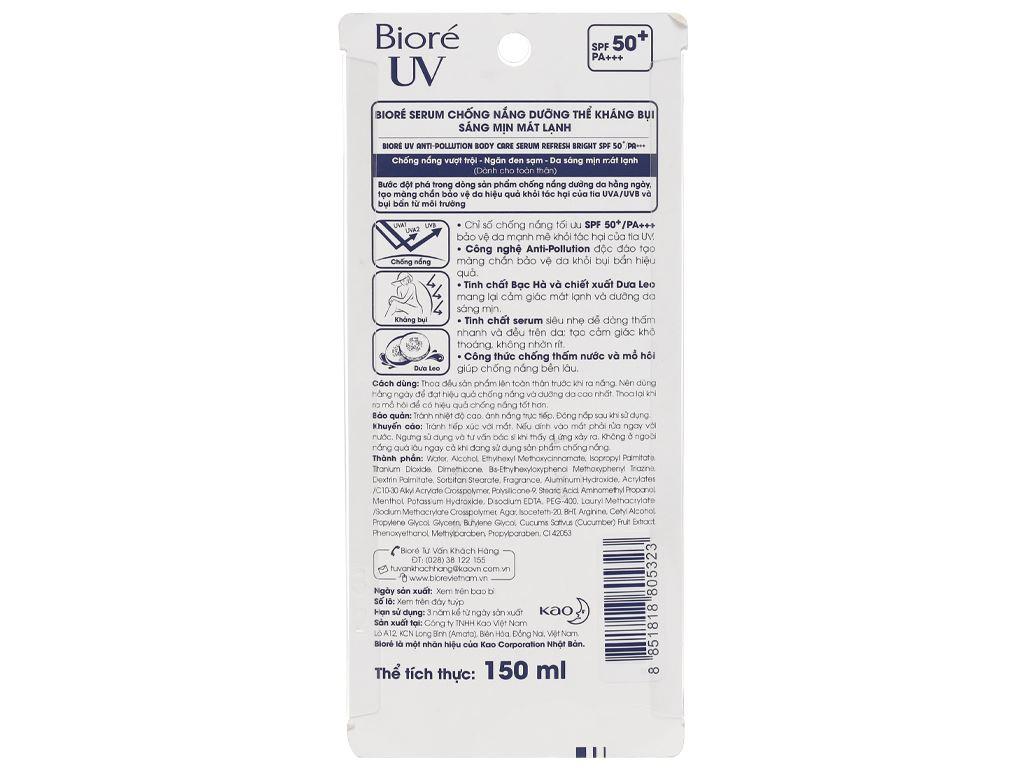 Serum chống nắng Bioré dưỡng thể kháng bụi mát lạnh SPF 50/PA+++ 150ml 2