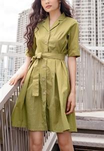 Đầm nữ xòe bâu danton Kimi AD180050 màu xanh