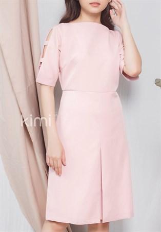 Đầm nữ cổ thuyền tay cách điệu Kimi AD180104 màu hồng