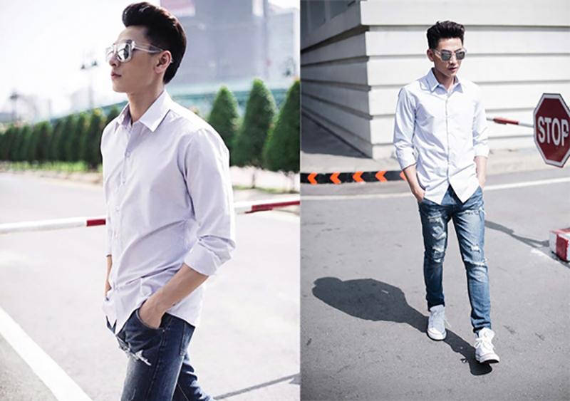 Kết hợp áo sơ mi nam với quần jean