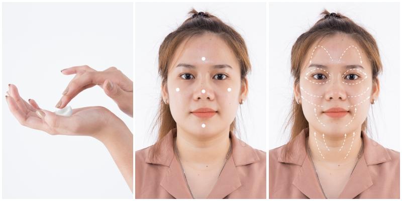 Sau khi rửa sạch mặt và sử dụng nước cân bằng, lấy một lượng vừa đủ sản phẩm ra tay rồi chấm 5 điểm trên mặt như hình rồi nhẹ nhàng mát xa đều khắp mặt theo chiều mũi tên trong hình