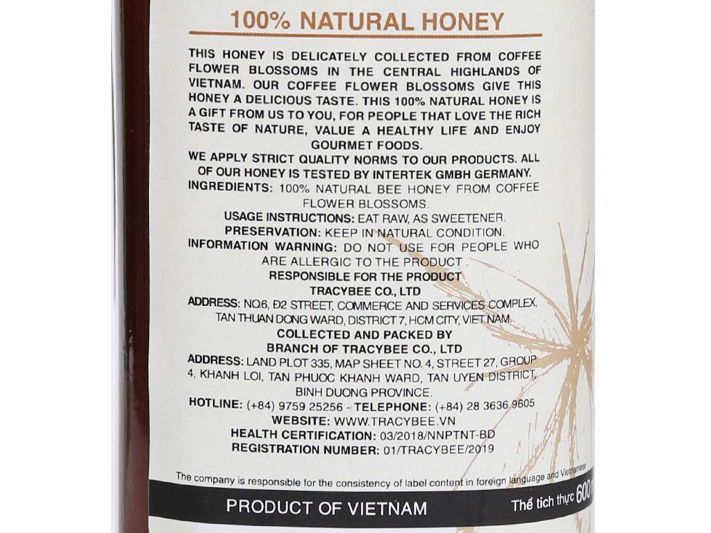 Mật ong hoa cà phê TracyBee chai 600ml 6