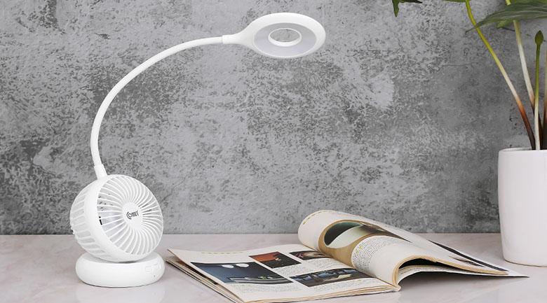 Đèn có kiểu dáng độc đáo, lạ mắt vừa quạt vừa đèn LED, tinh tế theo xu hướng hiện đại, nhỏ gọn và tiện dụng.