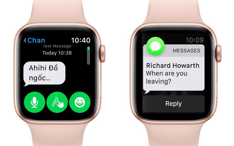 Apple Watch S4 GPS 40mm Viền Nhôm dây cao su màu hồng (MU682VN/A) - hiện thông báo
