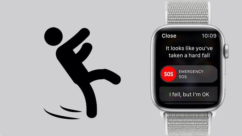 Apple Watch S4 GPS 44mm silver (MU6C2VN/A) - phát hiện té ngã