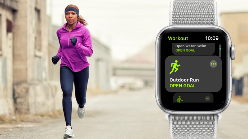 Apple Watch S4 GPS 44mm silver (MU6C2VN/A) - chạy bộ
