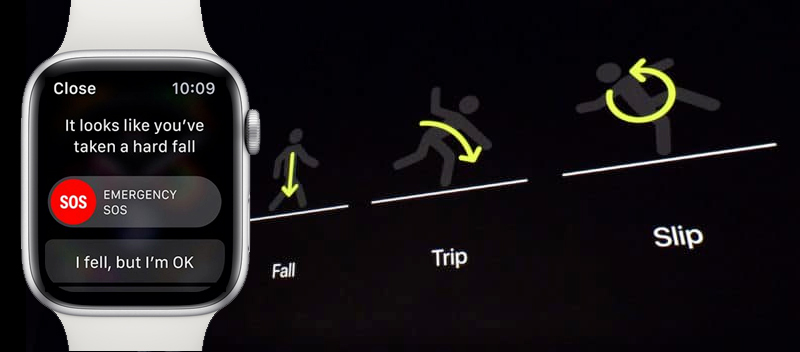 Apple Watch S4 GPS 44mm silver (MU6A2VN/A) - phát hiện té ngã
