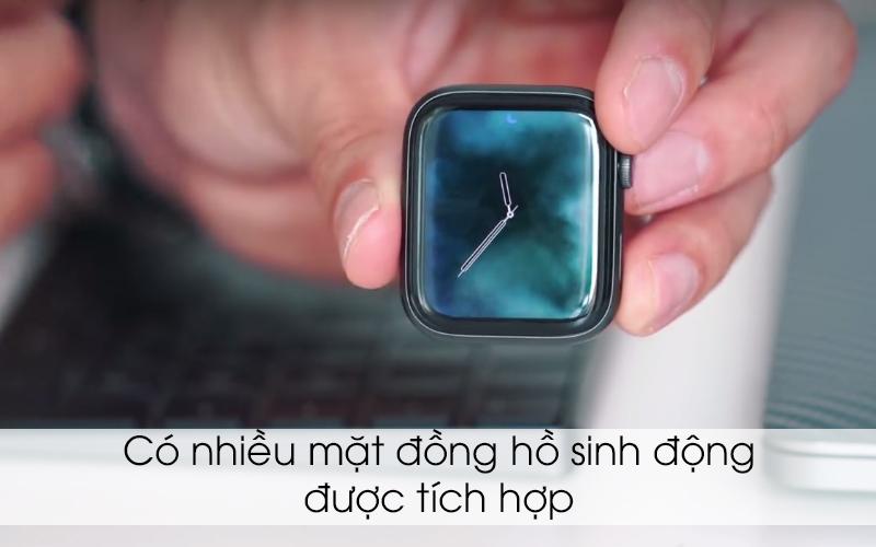 Apple Watch S4 GPS 44mm viền nhôm xám dây cao su màu đen (MU6D2VN/A) - mặt đồng hồ