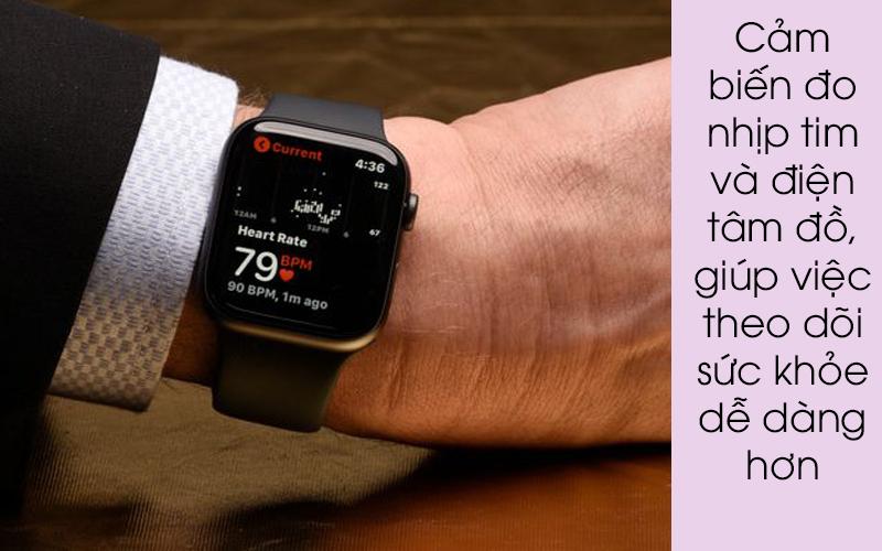 Apple Watch S4 GPS 44mm viền nhôm xám dây cao su màu đen (MU6D2VN/A) - đo nhịp tim