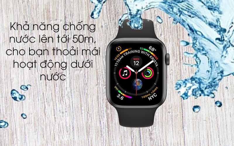 Apple Watch S4 GPS 44mm viền nhôm xám dây cao su màu đen (MU6D2VN/A) - chống nước