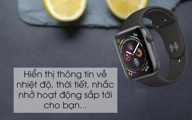 Apple Watch S4 GPS 44mm viền nhôm xám dây cao su màu đen (MU6D2VN/A) - hiển thị