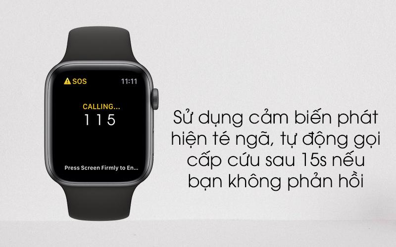Apple Watch S4 GPS 44mm viền nhôm xám dây cao su màu đen (MU6D2VN/A) - phát hiện té ngã