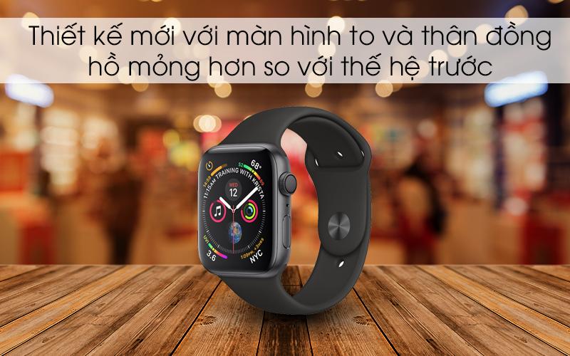 Apple Watch S4 GPS 44mm viền nhôm xám dây cao su màu đen (MU6D2VN/A) - thiết kế