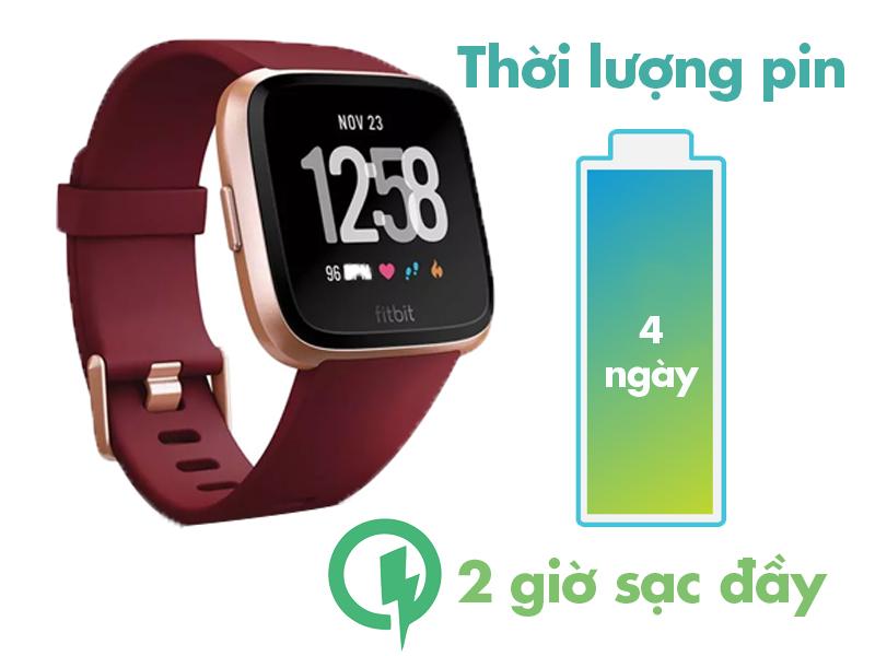 Smartwatch Fitbit Versa Đỏ cho thời gian sử dụng pin lâu