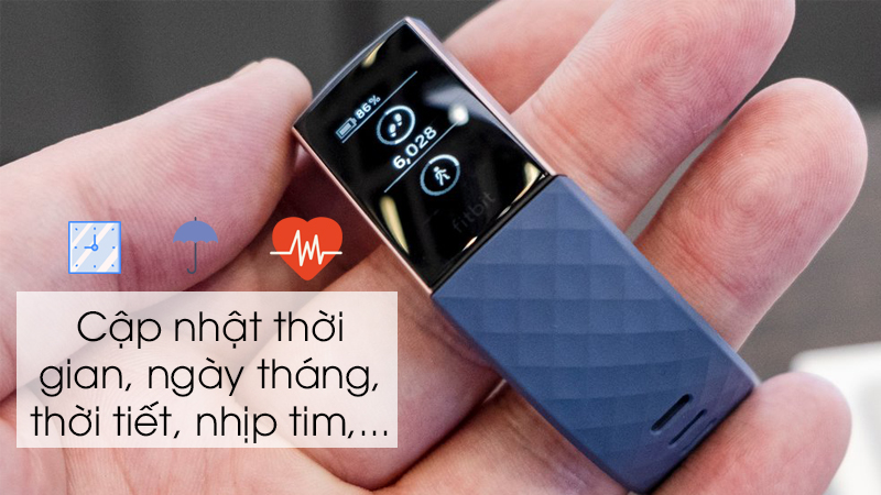 Vòng tay thông minh Fitbit Charge 3 Xanh Dương - Cập nhật hiển thị thông tin