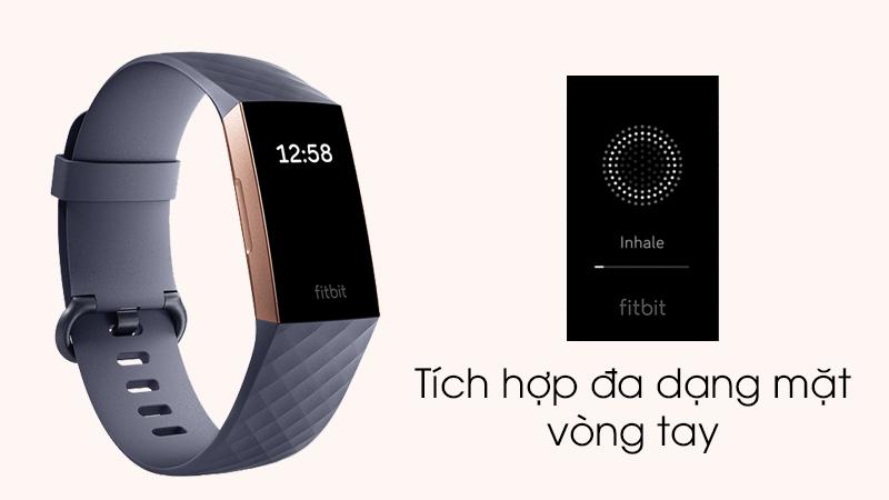 Vòng tay thông minh Fitbit Charge 3 Xanh Dương - Tích hợp nhiều mặt vòng tay