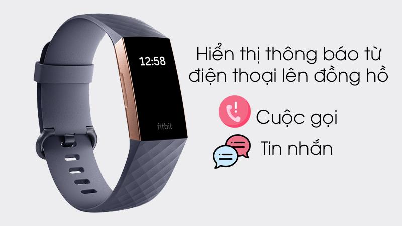 Vòng tay thông minh Fitbit Charge 3 Xanh Dương - Hiển thị các thông báo ngay trên mặt vòng