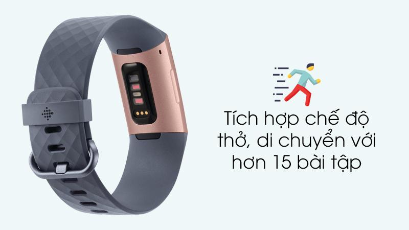 Vòng tay thông minh Fitbit Charge 3 Xanh Dương - Tích hợp nhiều chế độ luyện tập