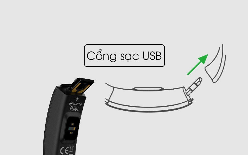 Cổng sạc USB tiện lợi trên Vòng tay thông minh Zeblaze Plug C
