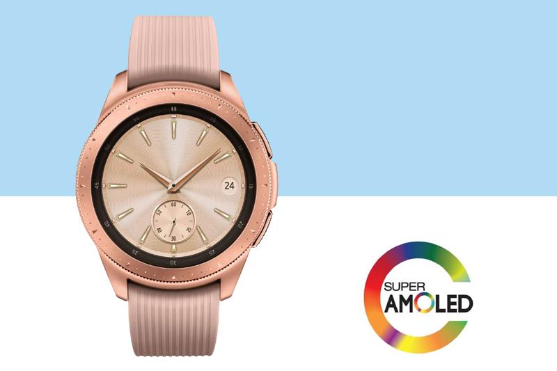 Công nghệ Super AMOLED trên Samsung Galaxy Watch 42mm Rose Gold cho hình ảnh rõ nét