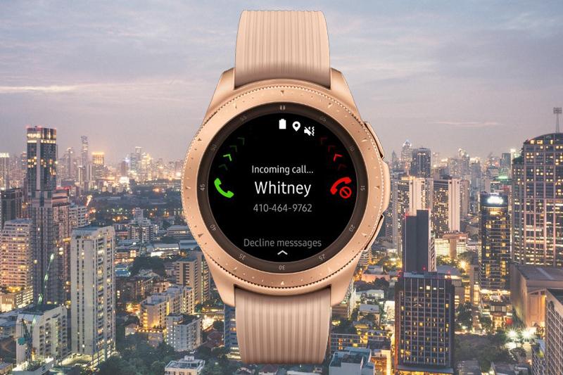 Samsung Galaxy Watch 42mm Rose Gold có khả năng nhận, trả lười cuộc gọi, tin nhắn trực tiếp trên đồng hồ