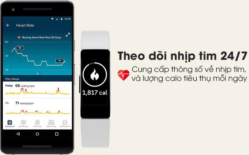 Vòng đeo thông minh Fitbit Inspire HR theo dõi nhịp tim