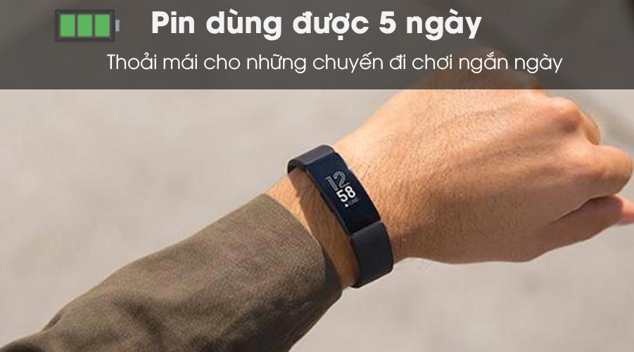 Vòng đeo thông minh Fitbit Inspire HR có pin 5 ngày