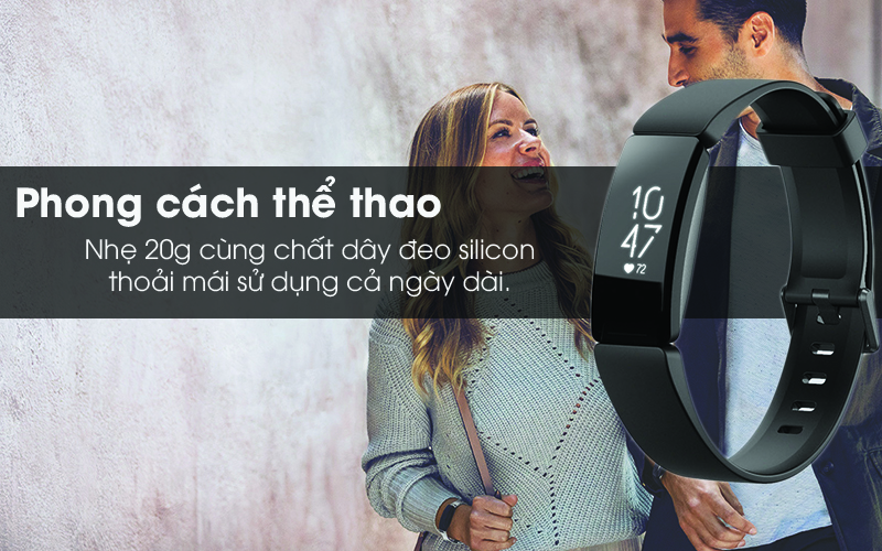 Vòng đeo thông minh Fitbit Inspire HR thiết kế thể thao