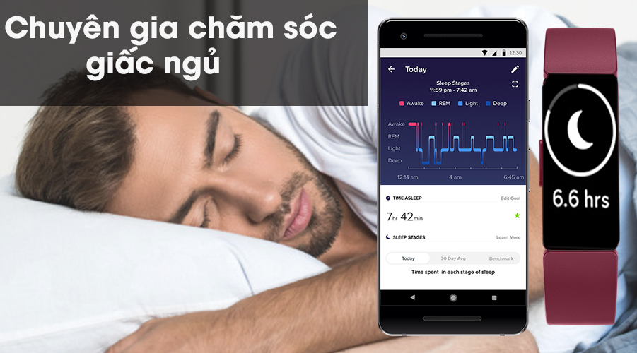 Vòng đeo thông minh Fitbit Inspire giấc ngủ