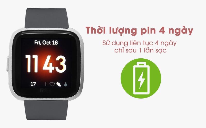 Fitbit Versa Lite với thời gian sử dụng 4 tiếng