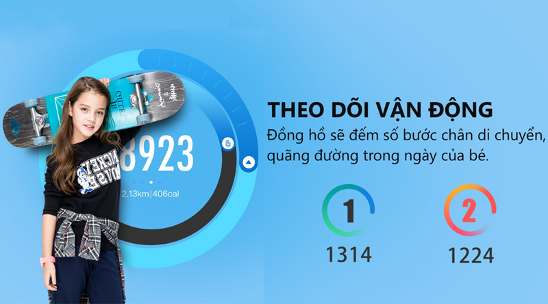 Đồng hồ thông minh Masstel Super Hero Xanh Dương với tính năng đếm bước chân