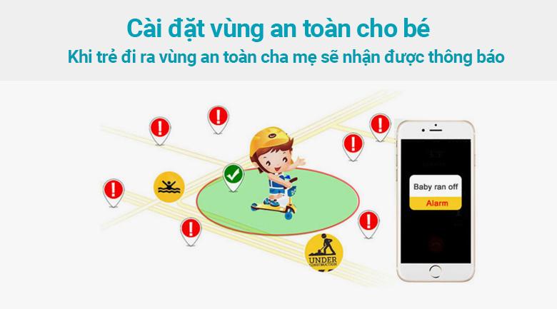 Đồng hồ định vị trẻ em Kidcare 26 cài đặt vùng an toàn cho bé