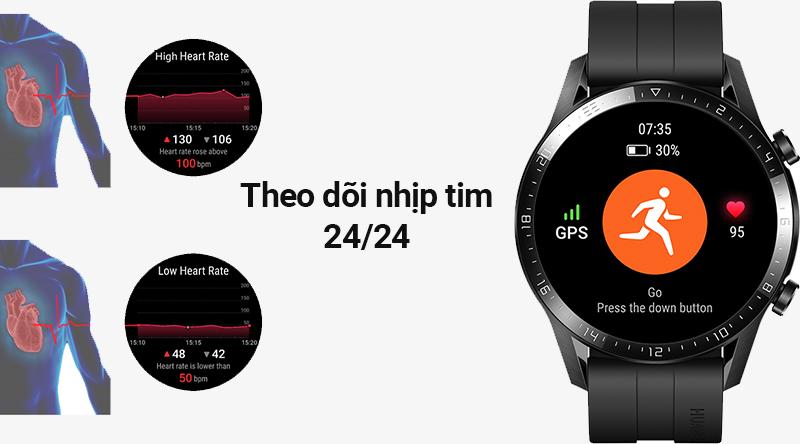 Đồng hồ thông minh Huawei Watch GT2 đo nhịp tim chính xác
